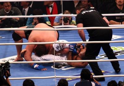 Royce finalizza l'avversario al suolo